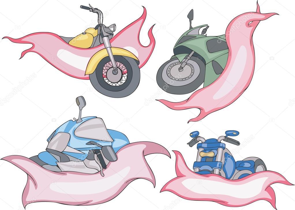 Motorrad-Vorlagen mit Bändern — Stockvektor © rorius #122142260