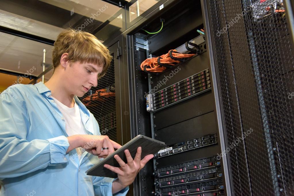 IT specialist configuring servers