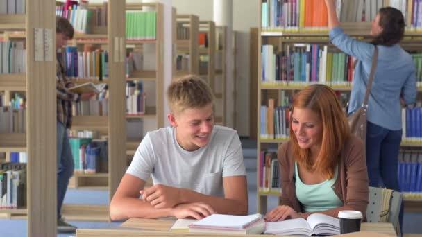 Dva studenti studují společně v college library