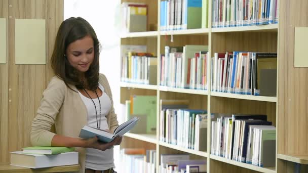 Teenager girl student in college library