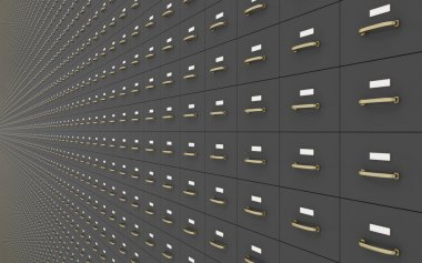 Wall of Gray Filing Cabinets