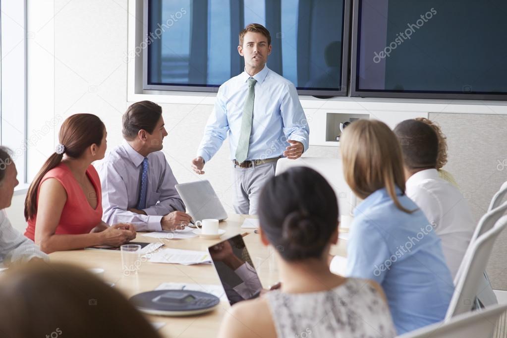Palestrante Motivacional Falando Para Empresários Stock