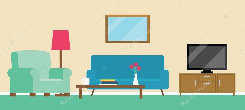 Marvelous Background Illustration Of Living Room U2014 Stock Vector