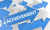 Achievement - 3d render concept with blue and white arrows flying over a white background.