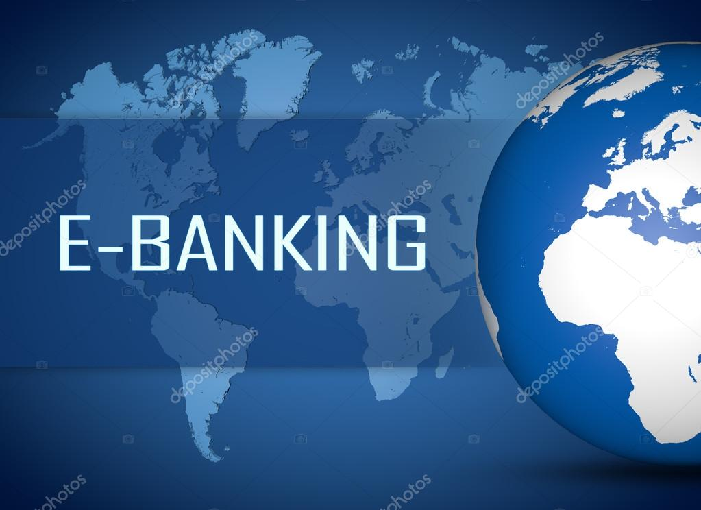 E banking concept with globe on blue world map background foto de e banking concept with globe on blue world map background foto de stock gumiabroncs Image collections