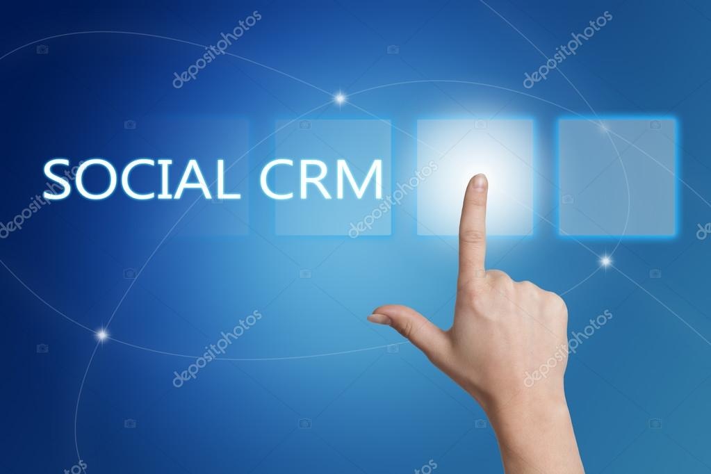 Social Crm Hand Pressing Button On Interface With Blue Background