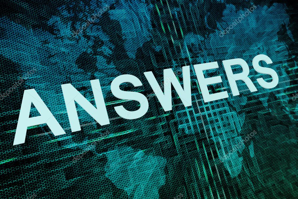 Answers text concept on green digital world map background foto de answers text concept on green digital world map background foto de mazirama gumiabroncs Images