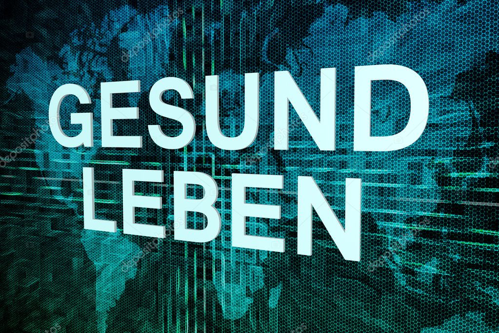 Gesund leben german word for healthy living text concept on green gesund leben german word for healthy living text concept on green digital world map background gumiabroncs Images