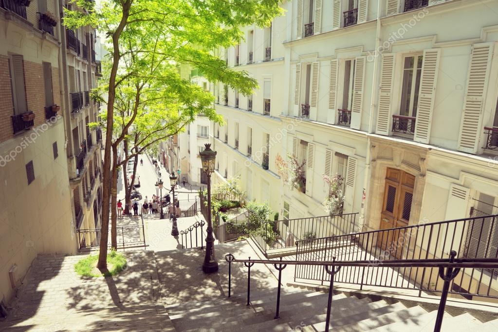 escalier de Montmartre du matin à Paris, France — Photographie Iakov ...