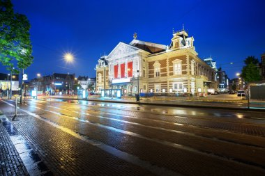 Concert building in Amsterdam at night, Netherlands