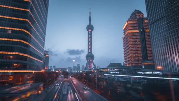 hyper lapse, road in Shanghai Lujiazui financial center, China