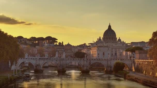 time lapse of St. Peters Basilica, Sant Angelo Bridge, Vatican, Rome, Italy
