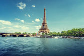 Fotografie Seine in Paris with Eiffel tower in morning time