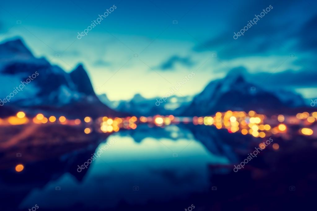 bokeh of sunset  in Reine Village, Lofoten Islands, Norway