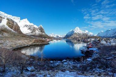 snow in Reine Village, Lofoten Islands, Norway