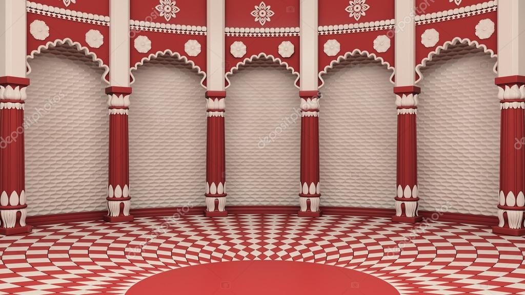 indiase klassieke kolommen interieur stockfoto