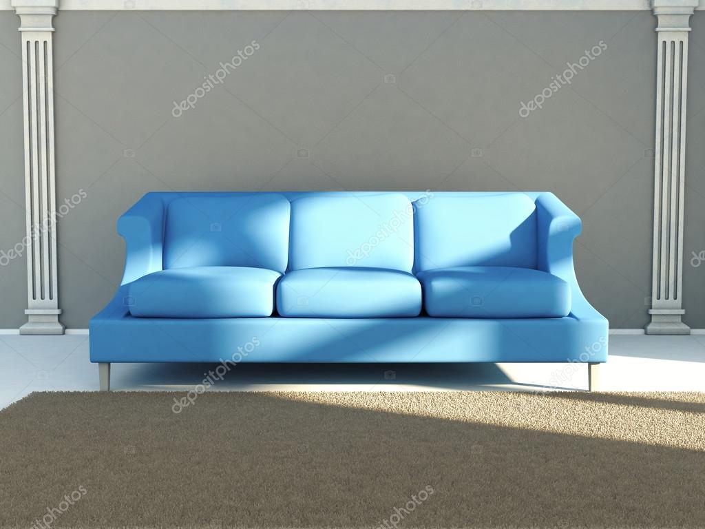 Klassische Wohnzimmer Einrichtung Mit Blauen Sofa 3d Render