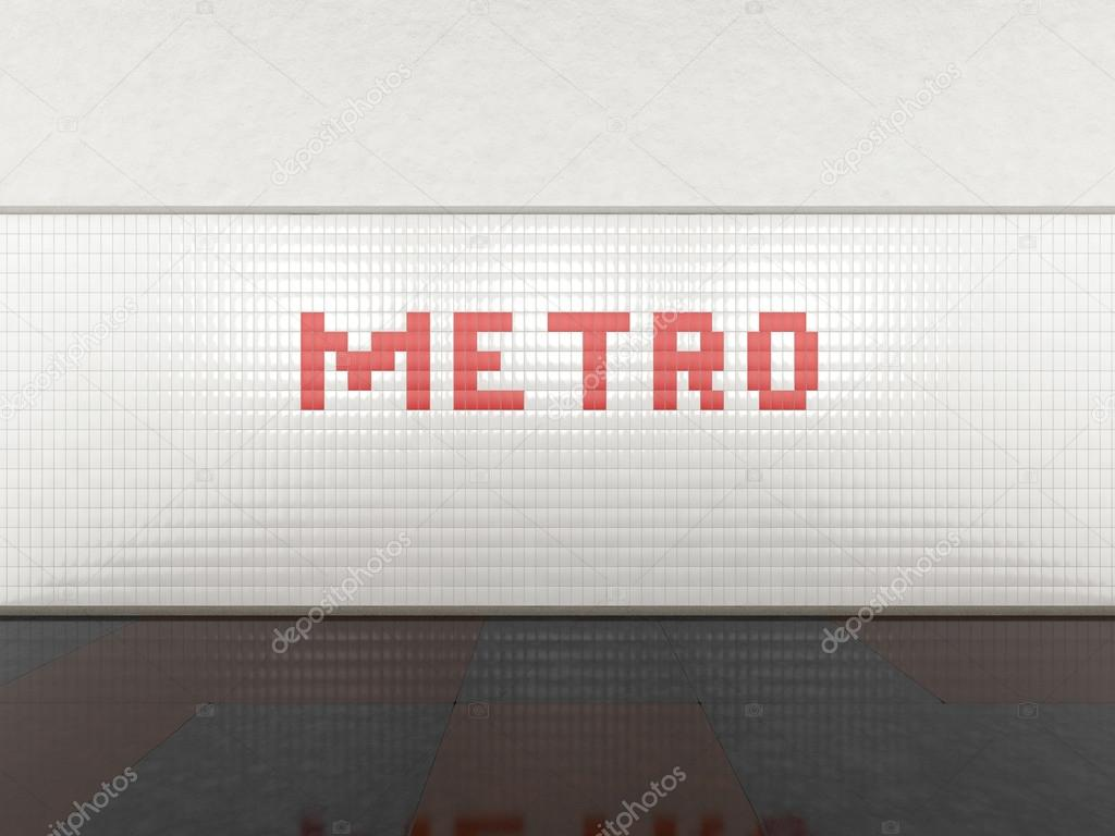 Tegel Met Tekst : Metro station met metro tegels tekst u2014 stockfoto © 3dbobber #87141780