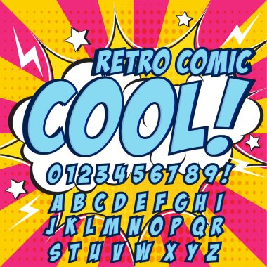 Creative high detail comic font. Blue color hero style of comics, pop art. Letters and figures for decoration