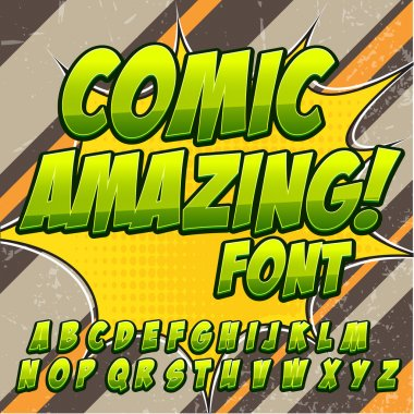 Comic alphabet set. Green color version. Letters, numbers and figures for kids illustrations, websites, comics, banners