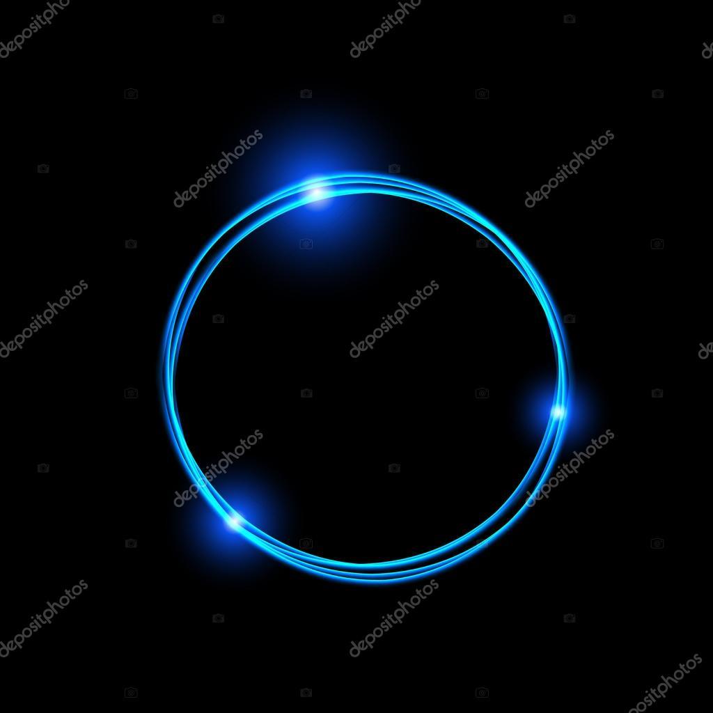 Marco de energía. Círculo de energía mágica luz neón. Rastro de ...