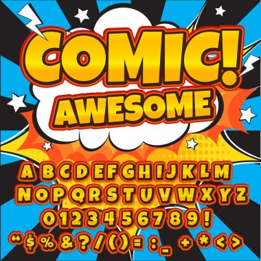 Alphabet collection set. Comic pop art style. Letters, numbers and figures for kids illustrations