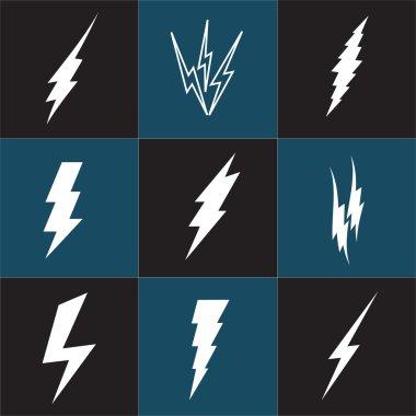 Vector lightning silhouette. Lightning Bolt icon.