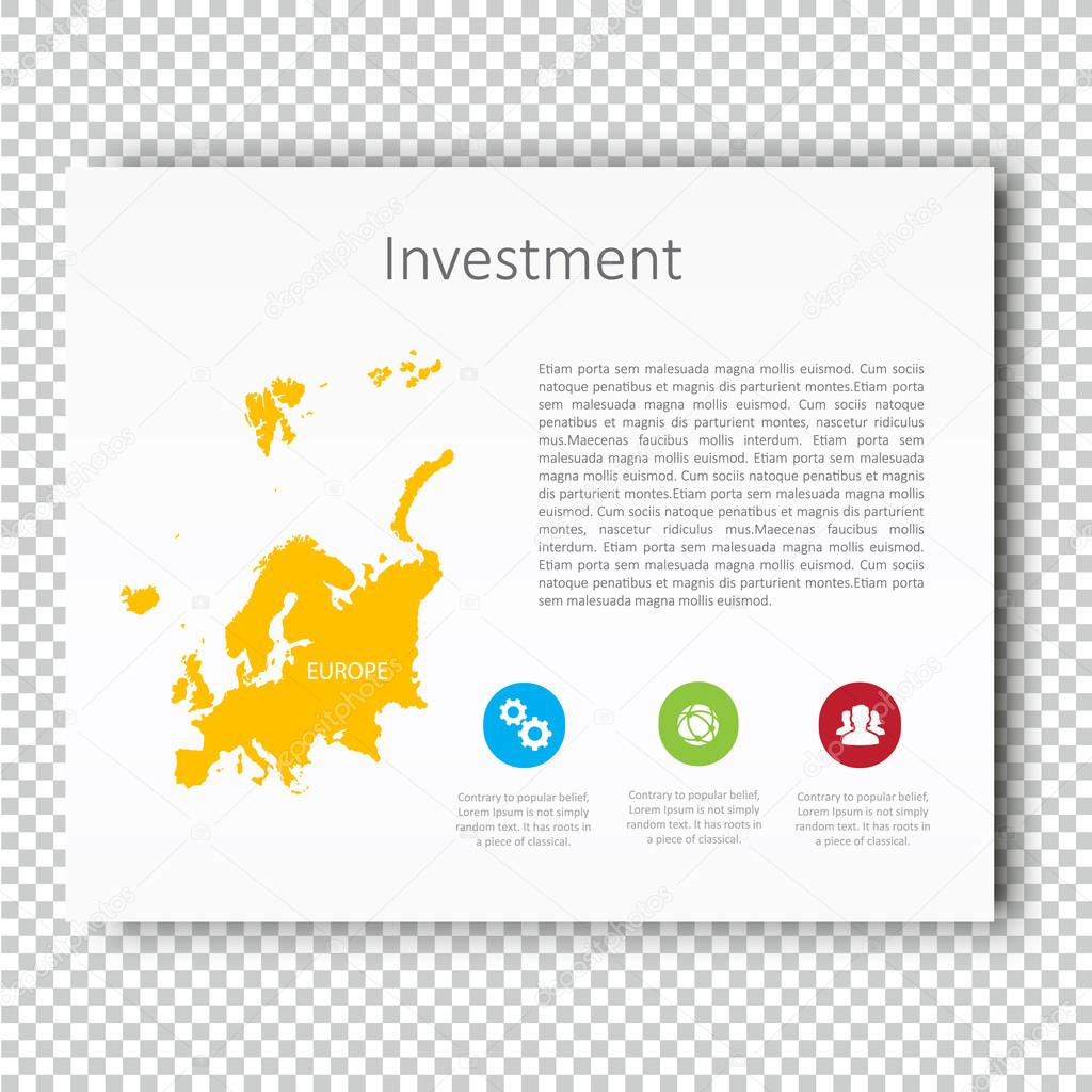 infographic investment slide of europe map presentation template business layout design modern style