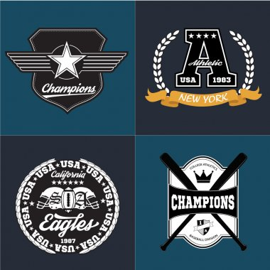 Sport athletic champions college baseball football logo emblem collection. Vector Graphics and typography t-shirt