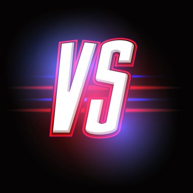 Neon Versus Logo. VS Vector Letters Illustration. Competition Icon.