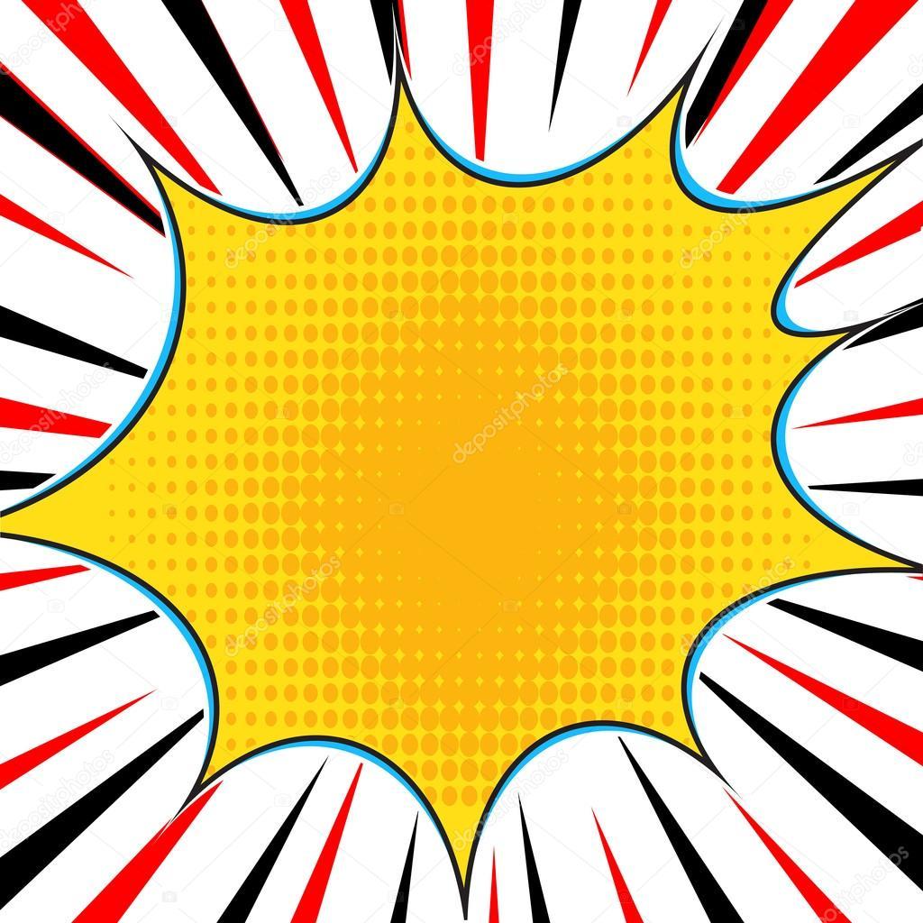 Cómic explosión superhéroe pop art estilo líneas radiales fondo ...