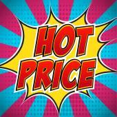 Esplosione di banner di fumetti con testo Prezzo Hot. Design per il vostro banner flyer pop art