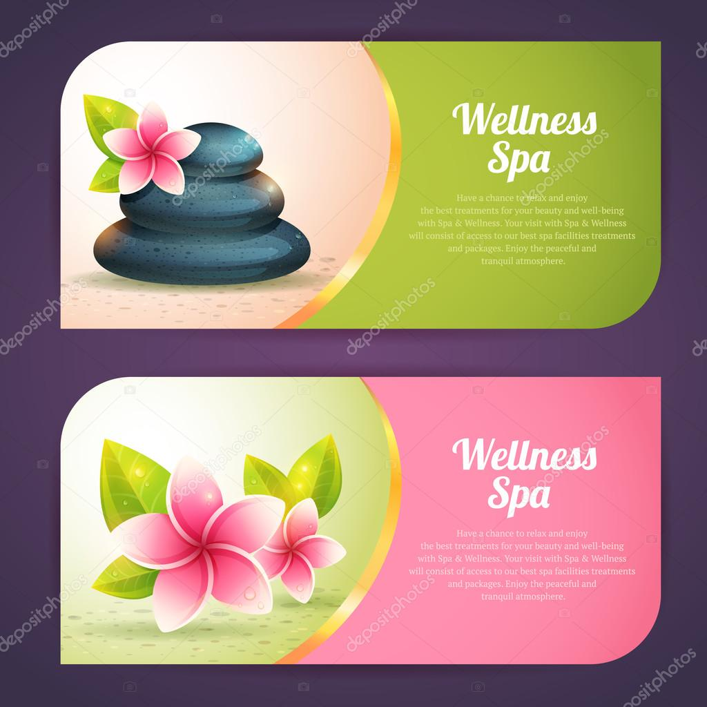 Set of thematical spa cards with wellness items isolated