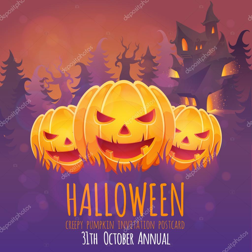 halloween einladungskarte mit kürbis und haus — stockvektor #53016621, Kreative einladungen