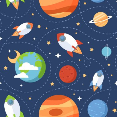 Seamless children cartoon space pattern with rockets, planets, stars and universe over the dark night sky background stock vector