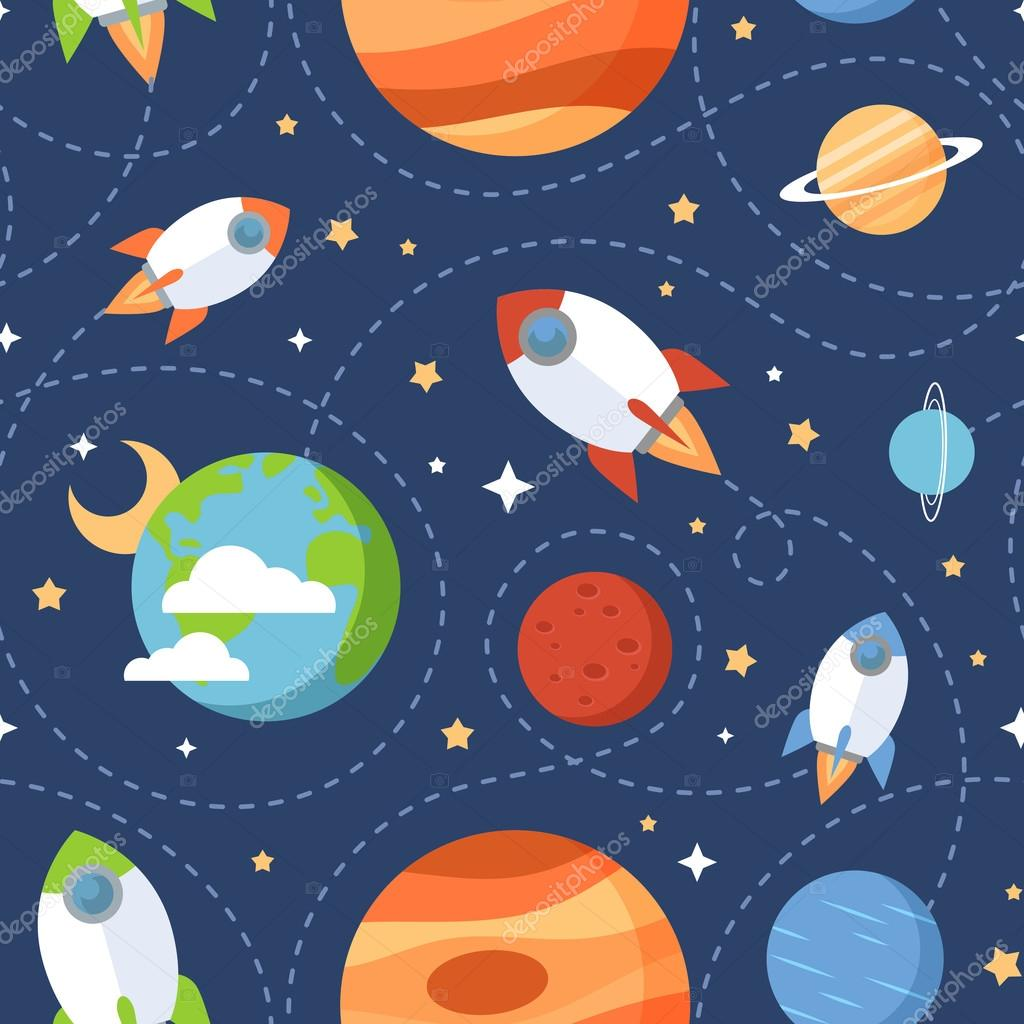 Seamless children cartoon space pattern