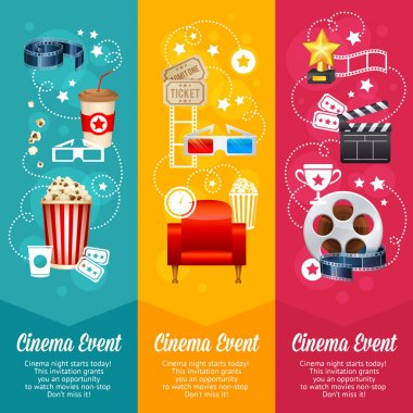 Realistic cinema movie poster template with film reel, clapper, popcorn, 3D glasses, conceptbanners stock vector
