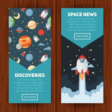 Space theme banners and cards with flat astronomic symbols of planets, rocket, stars, telescope for design, invitations and advertisement clip art vector