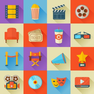Set of flat style cinema icons