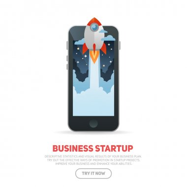 Business start up concept template with realistic smart phone
