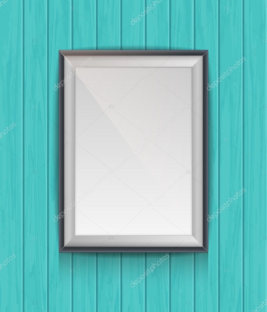 Cartel en blanco realista en un marco de madera — Vector de stock ...