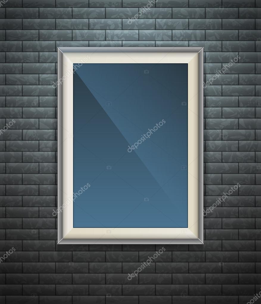 Cartel en blanco realista en un marco de madera — Archivo Imágenes ...