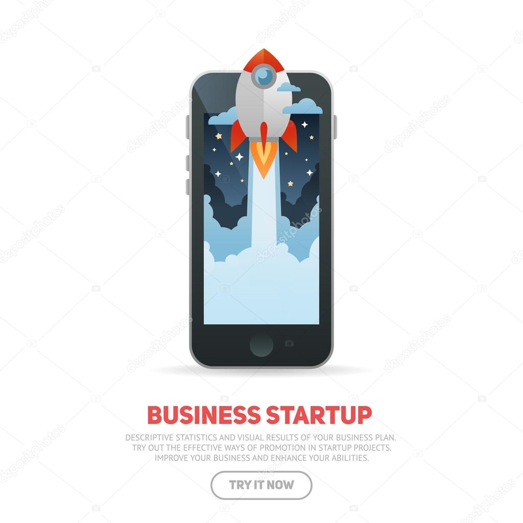 Business start up concept template with realistic smart