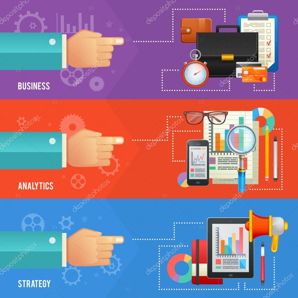 Satz von flachen Design-Vorlagen und Konzept-Banner für Unternehmen ...