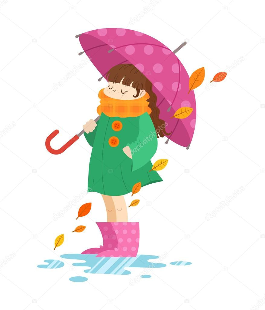 Autumn cartoon girl holding an umbrella