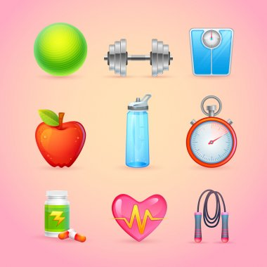 Sport and Fitness Items Realistic Icons