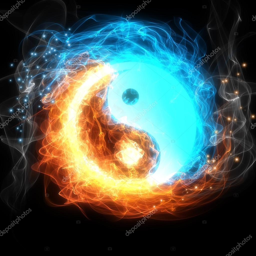 Yin Yang Symbol Fire And Ice Stock Photo Xanya69 102356318