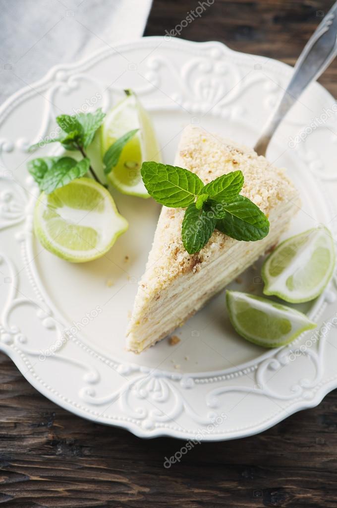 Traditionelle Russische Kuchen Medovik Mit Honig Stockfoto