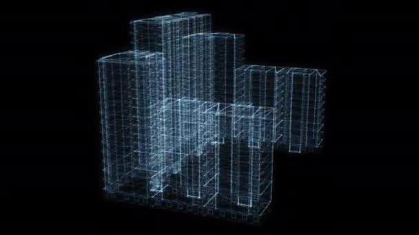 Krásný animovaný hologram virtuálního otočného stolu. 4k 60 fps