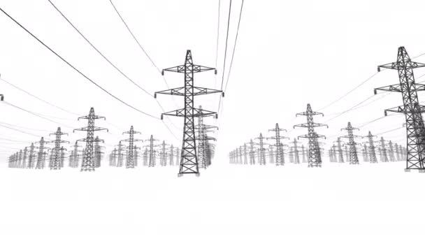 Electrical power lines and pylons on white background